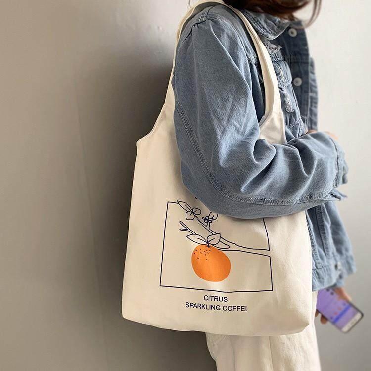 นครพนม Zigzagg กระเป๋าผ้าเกาหลี  Citrus & Peach กระเป๋าสะพาย กระเป๋าtote bag