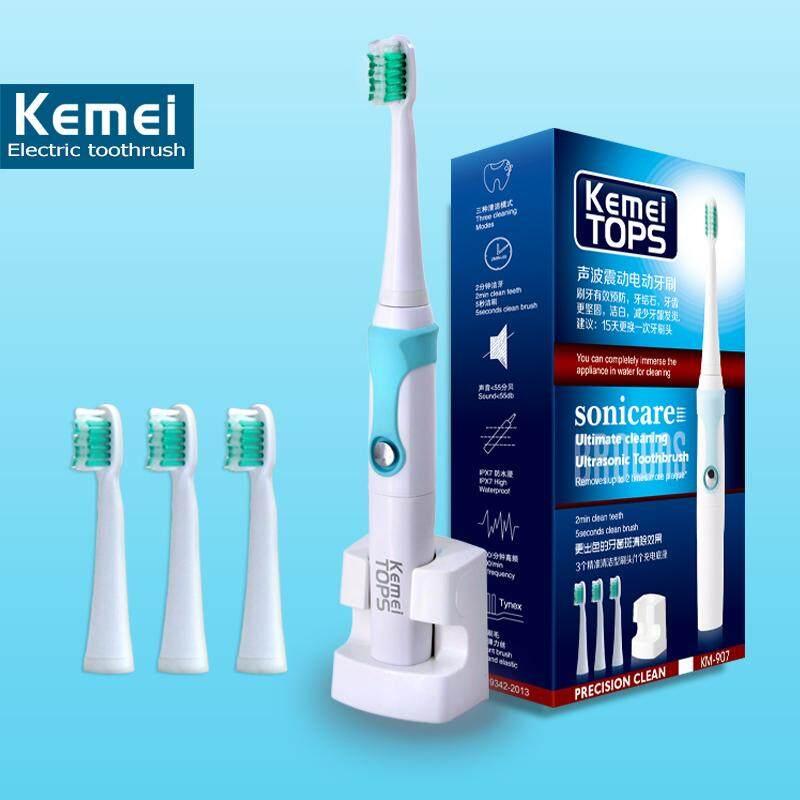 แปรงสีฟันไฟฟ้า ทำความสะอาดทุกซี่ฟันอย่างหมดจด เพชรบุรี Mizu Kemei KM 907 แปรงสีฟันไฟฟ้า รุ่น อัลตร้าโซนิคกันน้ำแบบชาร์จไฟแปรงสีฟันไฟฟ้า 3 หัวแปรงสีฟันสำหรับเด็กผู้ใหญ่ kemei electric toothbrush