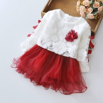0-4 Years Stylish Cotton Kids Girl Toddler Autumn Long Sleeve Lace Floral Appliques Hollow Out Dress - intl