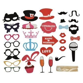 1 Set Photo Booth DIY Mask Mustache Stick Props Wedding Birthday Christmas Party Multi - intl
