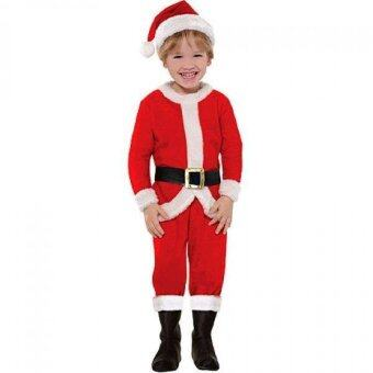 10 All ชุดซานตาครอสเด็ก ผ้ากำมะหยี่ สำหรับเด็กอายุ 6-8 ปี - Red