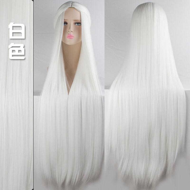 ผมปลอมผู้หญิงสีดำ ขาว ฟ้า เขียว ม่วง เหลืองยาว100เซนติเมตรสำหรับแต่งคอสเพลย์