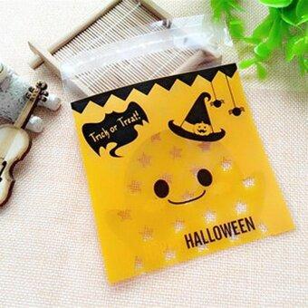 100pcs Halloween Pumpkin Biscuit Bag Candy Bag Party Supplies -intl