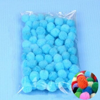 100PCS/Lot 20 Colors 15MM Multi Option Pompoms Soft Pom Poms BallsWedding Decoration Lake Blue - intl