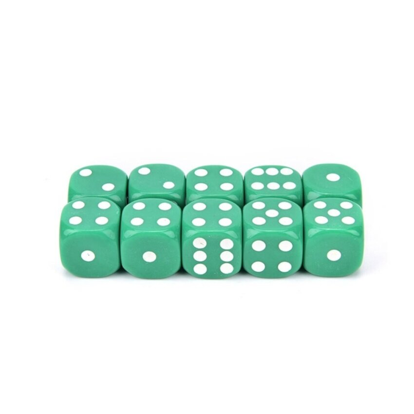 10Pcs Acrylic Six Sides Spot Dot D6 Playing Game Color Dices Bar Pub Toy Green - intl