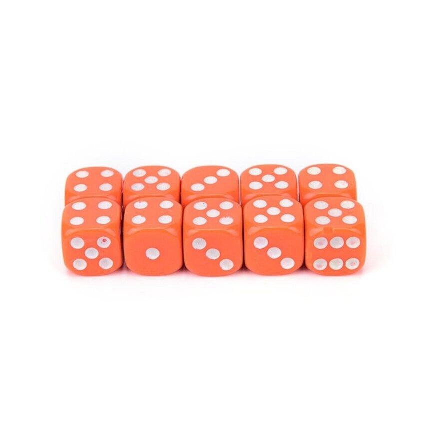 10Pcs Acrylic Six Sides Spot Dot D6 Playing Game Color Dices Bar Pub Toy Orange - intl
