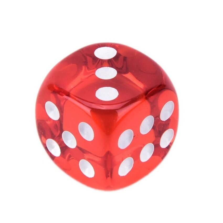 10pcs Square Transparent Dice Acrylic Craps Casino Bar Toy Game 14mm red - intl image