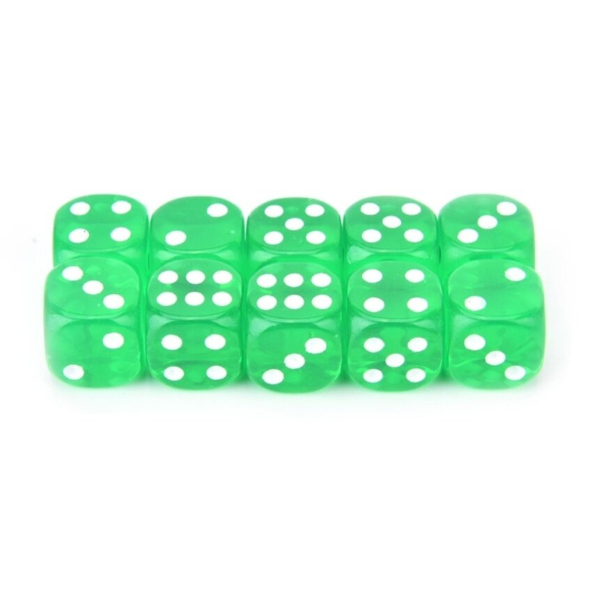 10pcs/Lot 13mm Clear Colorful Digital Dice Six Sided Spot Dice High Quality Game Tools Green - intl