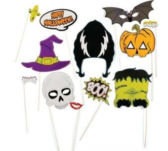 12-Piece Photo Booth Props Party Favor for Hallowmas Party withSkull Witch Hat - intl