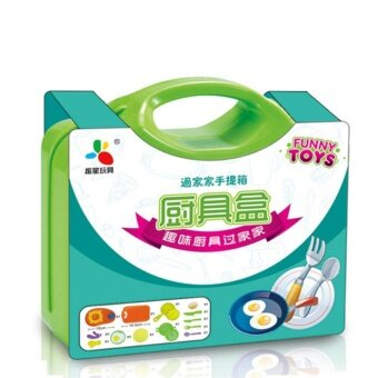 13Pcs/set Kitchen Pretend Play Children Simulation CookingTableware with Suitcase Kids Educational Toy Style:green - intl