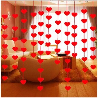 16 Hearts Romantic Wedding Decoration Marriage Room Layout DIY Non-woven Garland - intl