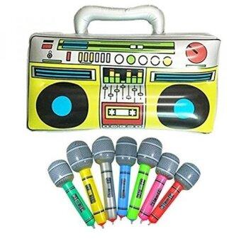 "16"" Party Inflatable Boom Box PVC Radio + 2 Microphones - intl"