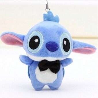 1pc 10cm Lover Kawaii LILO and Stitch Plush Stuffed TOY Phone Charm Strap BAG Key Chain Pendant TOY Wedding Bouquet TOY - intl