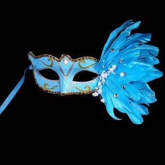 1*Women Feather Eye Mask Masquerade Fancy Dress Costume For Queen Cocktail Party - intl