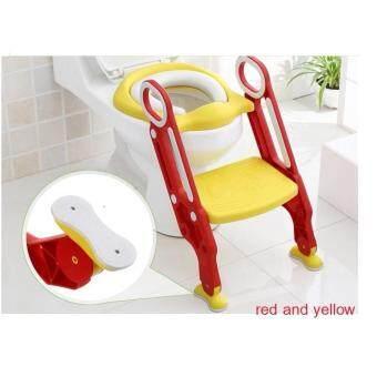 ฝารองชักโครก รุ่นมีบันได ใช้ฝึกนั่งในห้องน้ำสำหรับเด็ก สามารถปรับระดับที่วางเท้า 2ระดับให้เข้ากับสะรีระของเด็ก/ทำจากวัสดุที่ทนทานรับน้ำหนักได้ถึง 75 กก.