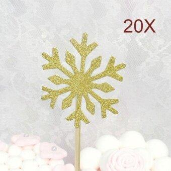 20Pcs/Set Christmas Cake Topper Paper Wood Wedding Handmade Snowflake - intl