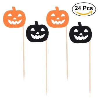 24pcs/Pack Halloween Cake Decoration Pumpkin Cake Picks Cupcake Toppers Banners Birthday Holiday Party Supplies - intl