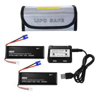 2pcs 7.4V 2700mAh 10C 20Wh LiPo Battery + USB Balance Charger for Hubsan H501S Quad Drone Black