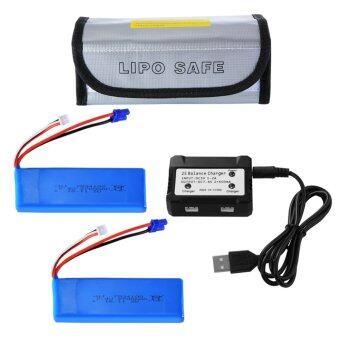2pcs 7.4V 2700mAh 10C 20Wh LiPo Battery + USB Balance Charger for Hubsan H501S Quad Drone Blue