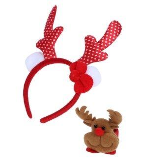 2pcs Cute Christmas Gift Children Headwear +Bracelet PartyDecor(Red) - intl