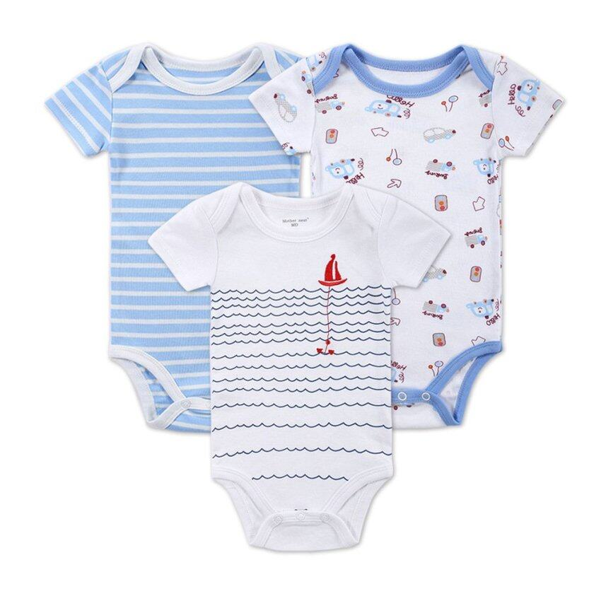 3 Pieces/set Baby Romper Girl and Boy Short Sleeve Summer Clothing Set for Newborn Next Jumpsuits & Rompers (Multicolor)