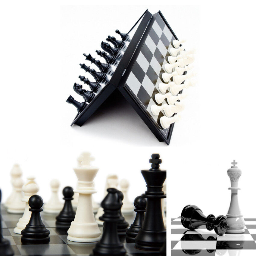 31*31*2.2cm Portable 2 in 1 Magnetic Fodable International Chess/Checkers Board Games Toy - intl