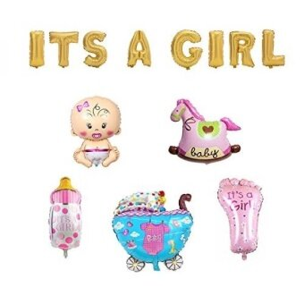 32 ITS A GIRL Gold Foil Letter Balloons + 28 Baby Girl Mylar Balloon Set for Baby Shower - intl