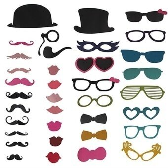 36x DIY Photo Booth Props Mustache On A Stick Birthday Party - intl