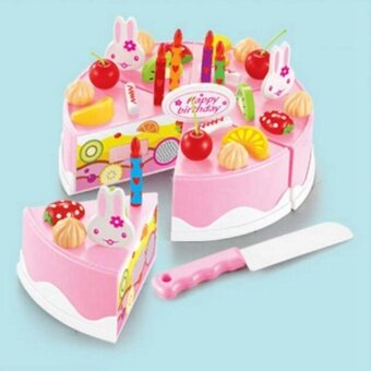 37PCS Plastic Birthday Cake Set Play Food Set for Pretend Play Pink - intl