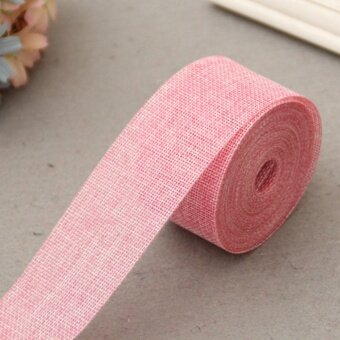 5cm*10m Natural Jute Burlap Ribbon Jute Fabric Roll Hessian Ribbon Trims Tape Rustic DIY Wedding Party Decor Pink - intl