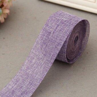 5cm*10m Natural Jute Burlap Ribbon Jute Fabric Roll Hessian Ribbon Trims Tape Rustic DIY Wedding Party Decor Purple - intl