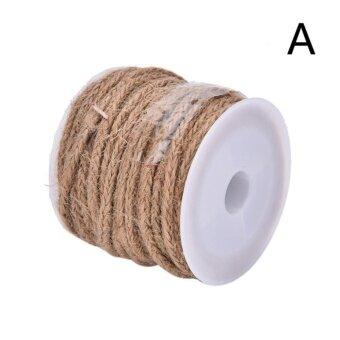 5M Natural Hessian Jute Twine Rope Burlap Ribbon DIY Craft Vintage Wedding Party Decor Style A - intl