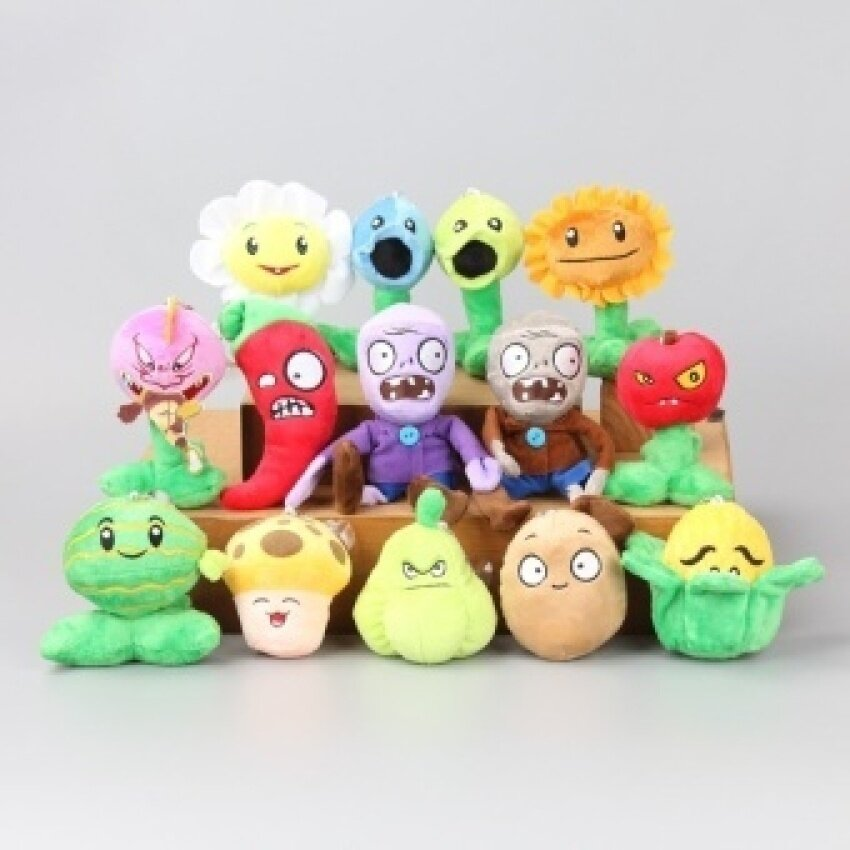 5pcs Plants Vs Zombies Figure Crazy Party Version Toy with Sucker Plush Toys for Children - intl