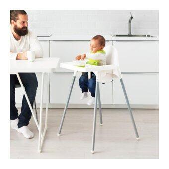 เก้าอี้ทานข้าวเด็กเล็ก ทรงสูงพร้อมถาด และเข็มขัดรัด (สีขาว) อายุ 6 เดือน - 4 ปี