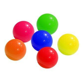 ลูกแก่นเปตอง พลาสติกสีสะท้อนแสง คละสี ชุด 6 ลูก / แดง เหลือง เขียว น้ำเงิน ส้ม ชมพู - petanque