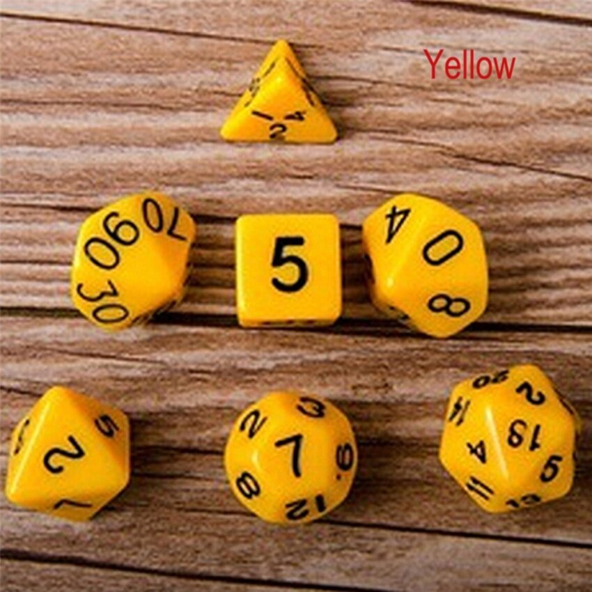 7pcs Polyhedral Acrylic Dungeons Dragons Dice Multiple Sides Role Playing Games Gold 16mm-25.5mm - intl image