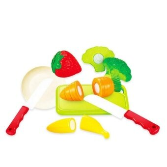 8PCS Plastic Cutting Fruits and Vegetables Set with Dish Play Food Set for Pretend Play - intl