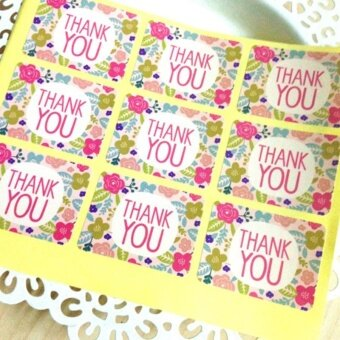 90pcs/set Fresh Flower Stickers Thankyou Festival Decorations -intl