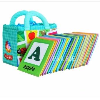 Pick ME แฟลชการ์ดผ้า ABC สำหรับเด็กเล็ก แผ่นการเรียนรู้สำหรับเด็กเล็ก หนังสือผ้าสำหรับเด็กเล็ก แผ่นภาพคำศัพท์ภาษาอังกฤษและภาษาจีน