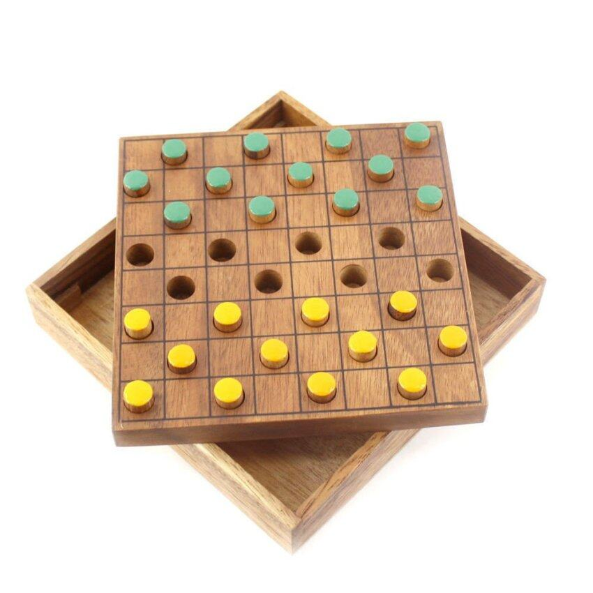 Ama-Wood ของเล่นไม้ หมากฮอส, ใหญ่ (Checkers Colored Wooden Board Game, Large)