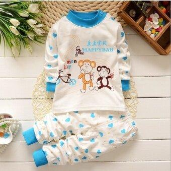 แฟชั่นหมีเด็กทารกการ์ตูน Amimal ลิงเสื้อผ้าเด็ก \n 2 ชิ้นเสื้อแขนยาว + กางเกงชุดเสื้อผ้าชุด