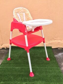 AMSTEPS baby high chair 2 in 1 เก้าอี้ทานข้าวเด็ก 2 in 1 (สีแดง)