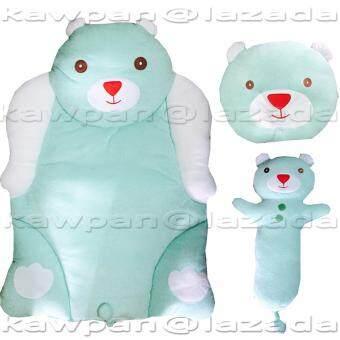 K.baby ชุดที่นอนผ้าขนหนู + หมอน + หมอนข้าง รูปหมีน่ากอด(สีฟ้า)