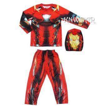 AVENGER Iron Man ชุดฮีโร่เสื้อแขนยาวและกางเกงขายาวไอรอนแมน พร้อมหน้ากาก