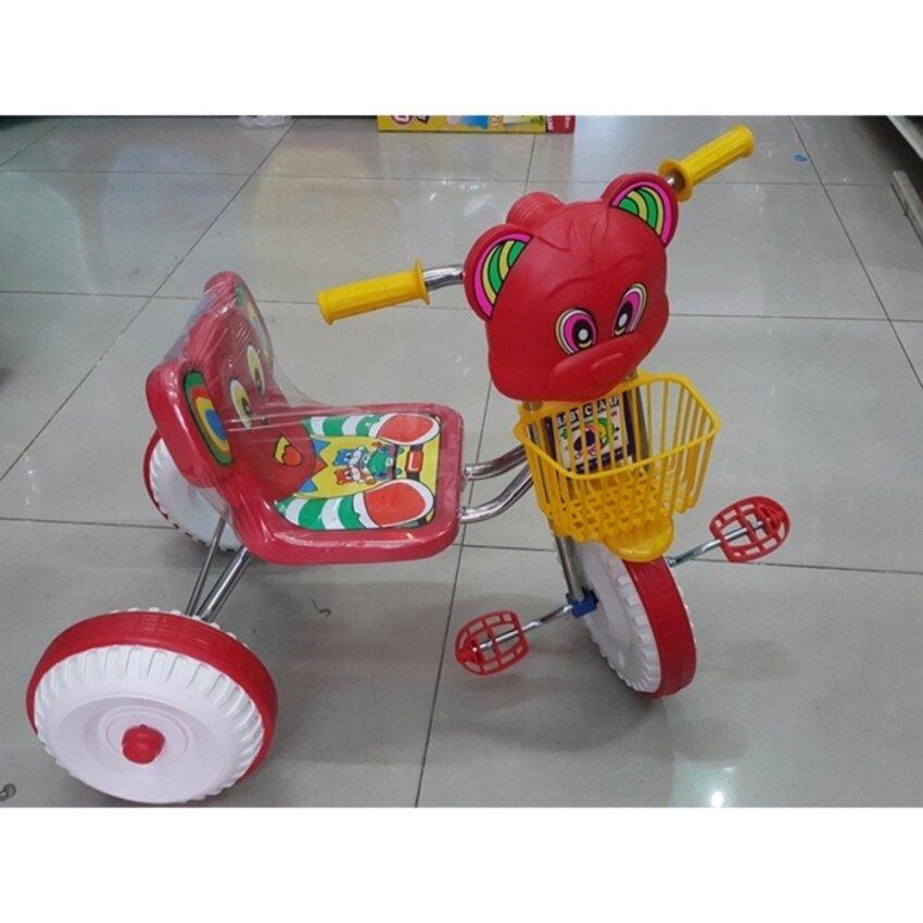 Baby Champ รถจักรยานสามล้อเด็ก โครงสร้างเหล็กชุบโครเมียม สีเทาเป็นมันวาว ทนต่อการผุกร่อน ปรับระดับได้ สีแดง ชมพู น้ำเงิน