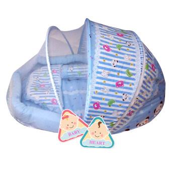 BABY heart ชุดที่นอนมุ้ง จัมโบ้รุ่น 2 in 1 พร้อมหมอนและ หมอนข้าง {แพนด้าสีฟ้า}