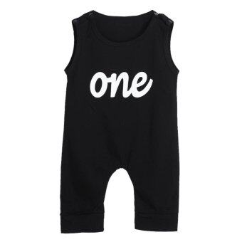 Baby One Print Black Rompers Bodysuit Jumpsuit - intl