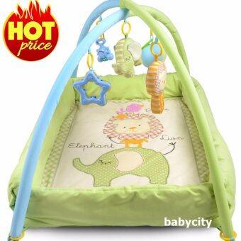 เพลยิม ที่นอนเด็ก เปลเด็ก ของเล่นเสริมพัฒนาการ ที่นอนเด็กแรกเกิด ที่นอนเด็กอ่อน เบาะนอนทารก สีเขียว Baby play gym