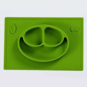 Baby Smile Silicone Dinner Plates Safety Baby Fedding Dinner PlatesBowl Children Dishes Fruit Plate Mat 38x25.3cm Green Color - intl