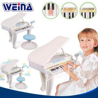 Weina White Grand Piano Stool เปียโนเสมือนจริงไมโครโฟน อัดเสียงที่เล่นได้ พร้อมเก้าอี้นั่ง